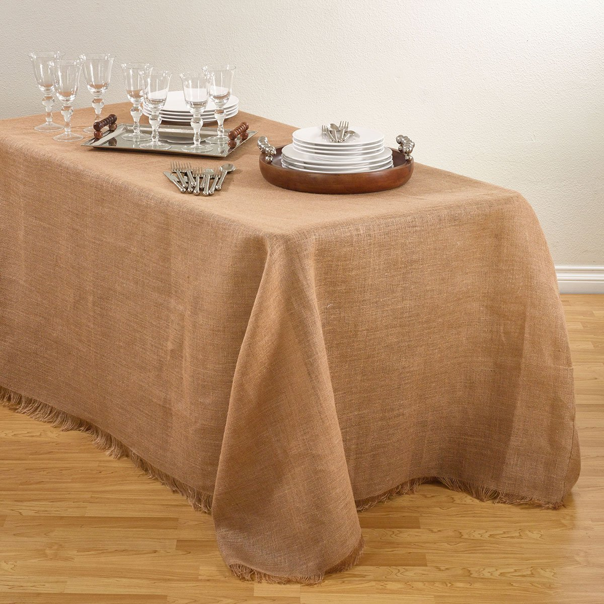 Natural Color Burlap Tablecloth, 90 Inch by 156 Inch Rectangular
