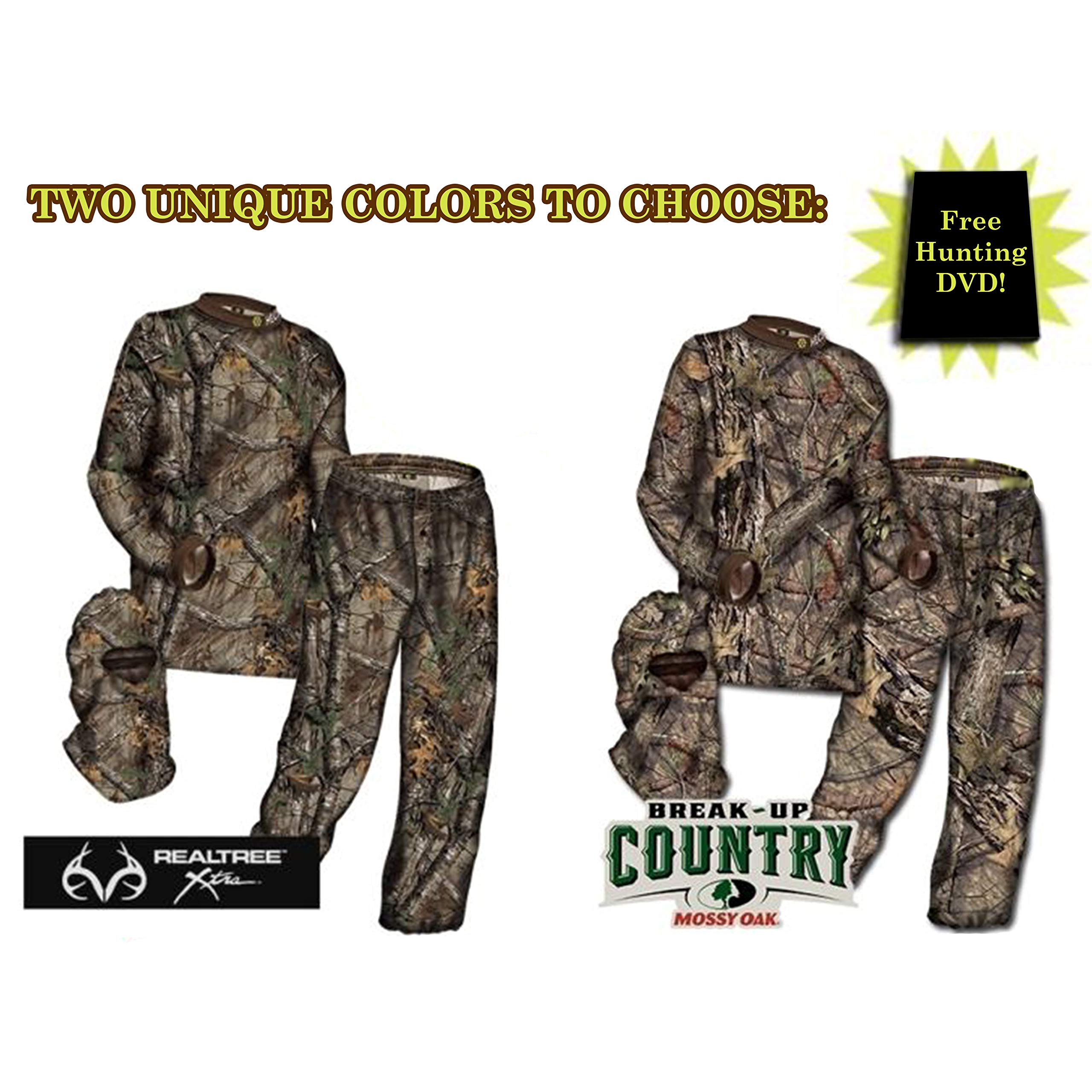 HECS Suit Deer Hunting Clothing with Human Energy Concealment Technology - Camo 3 Piece Shirt, Pants, Headcover - Lightweight Breathable in Mossy Oak Country & Realtree Xtra | Realtree, X-Large
