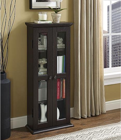 Amazon.com: Walker Edison 4 Tier Shelf Living Room Storage Tall Bookshelf Cabinet Doors Home Office Tower Media Organizer, 41 Inch, Espresso: Furniture & Decor