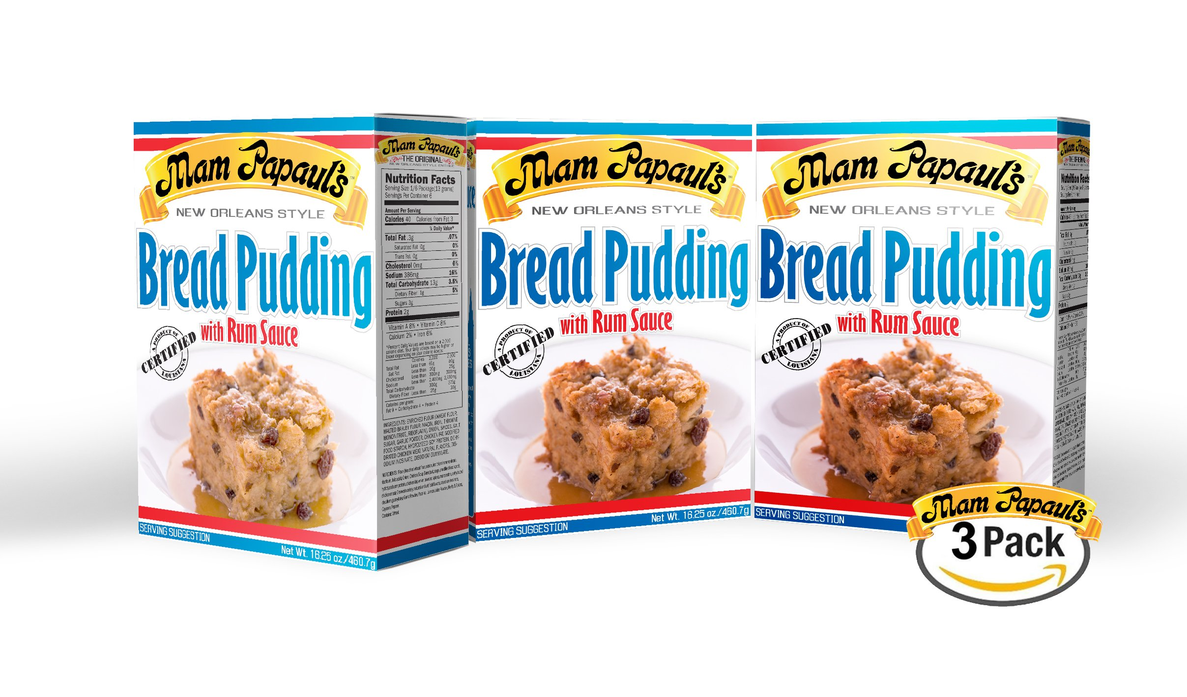 Mam Papaul's Bread Pudding w/ Rum Sauce Mix 3pk by Mam Papaul's