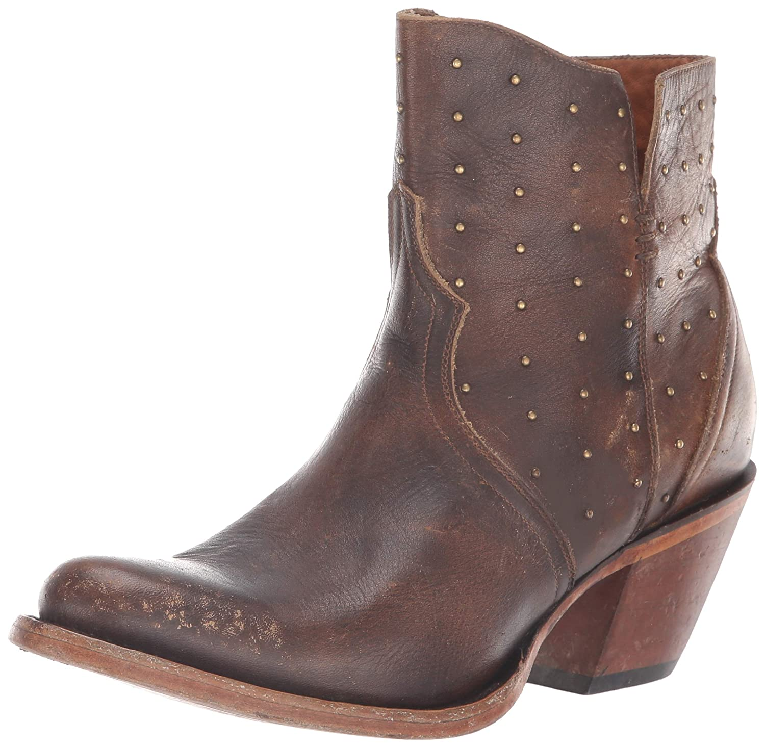 Chocolate Lucchese Women's Harley Fashion Booties Round Toe