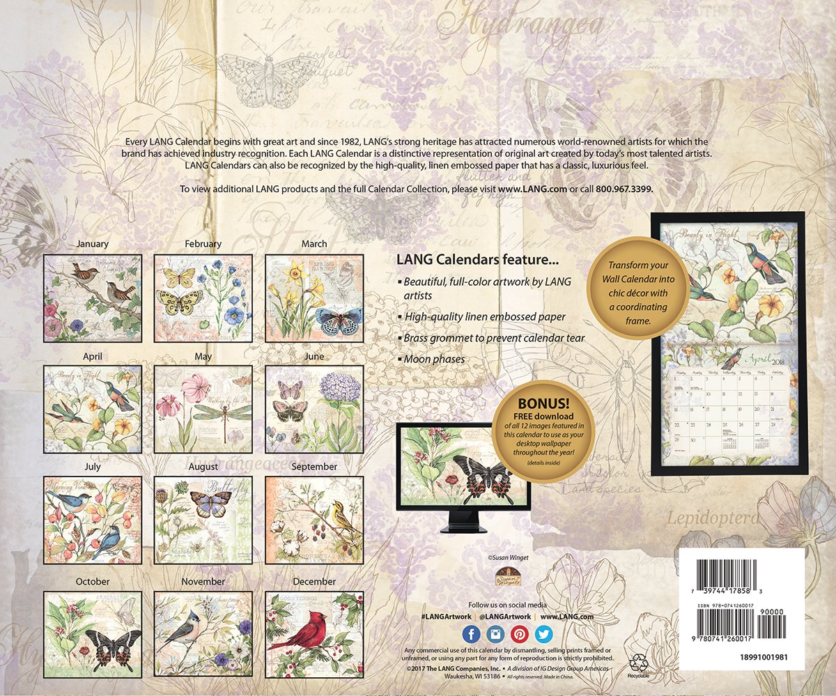 Lang 2018 Wall Calendar Field Guide Artwork By Wiring Diagram Susan Winget 12 Month Open Size 13 3 8 X 24 Office Products