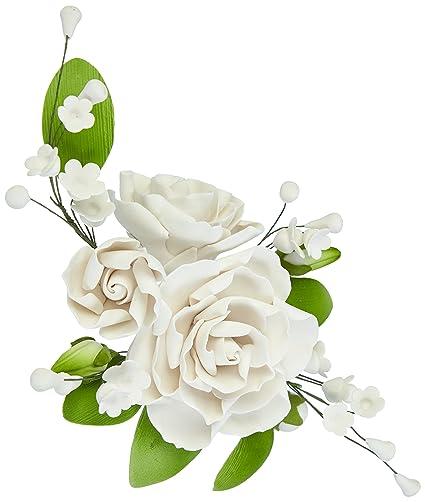Cake Company Zuckerblumenboquet Rose 1 Stück weiß 1er Pack (1 x 109 g)
