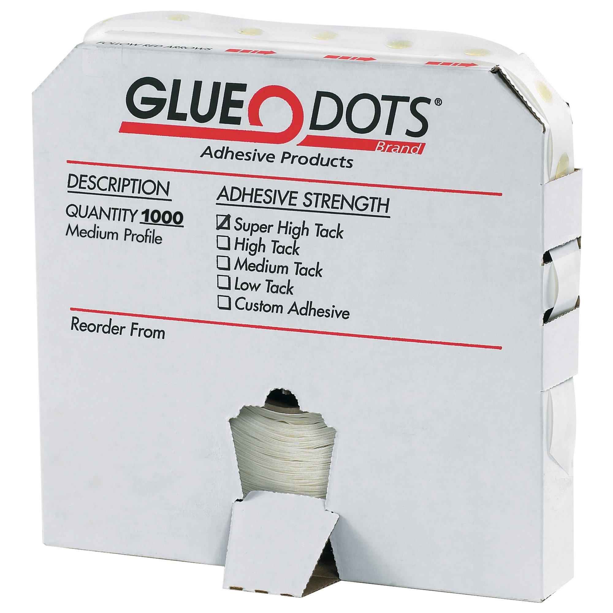 Glue Dot GD117 High Profile Super High Tack Glue Dot, 1/2'' Diameter x 1/8'' Thick (Case of 1000) by Glue Dots