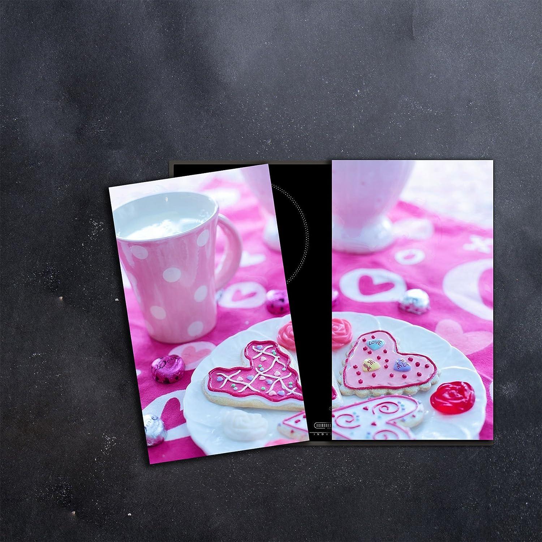 DAMU  Ceranfeldabdeckung 2 Teilig 2x30x52 cm Herdabdeckplatten Kü che Elektroherd Induktion Herdschutz Spritzschutz Glasplatte Schneidebrett Pink Kaffee