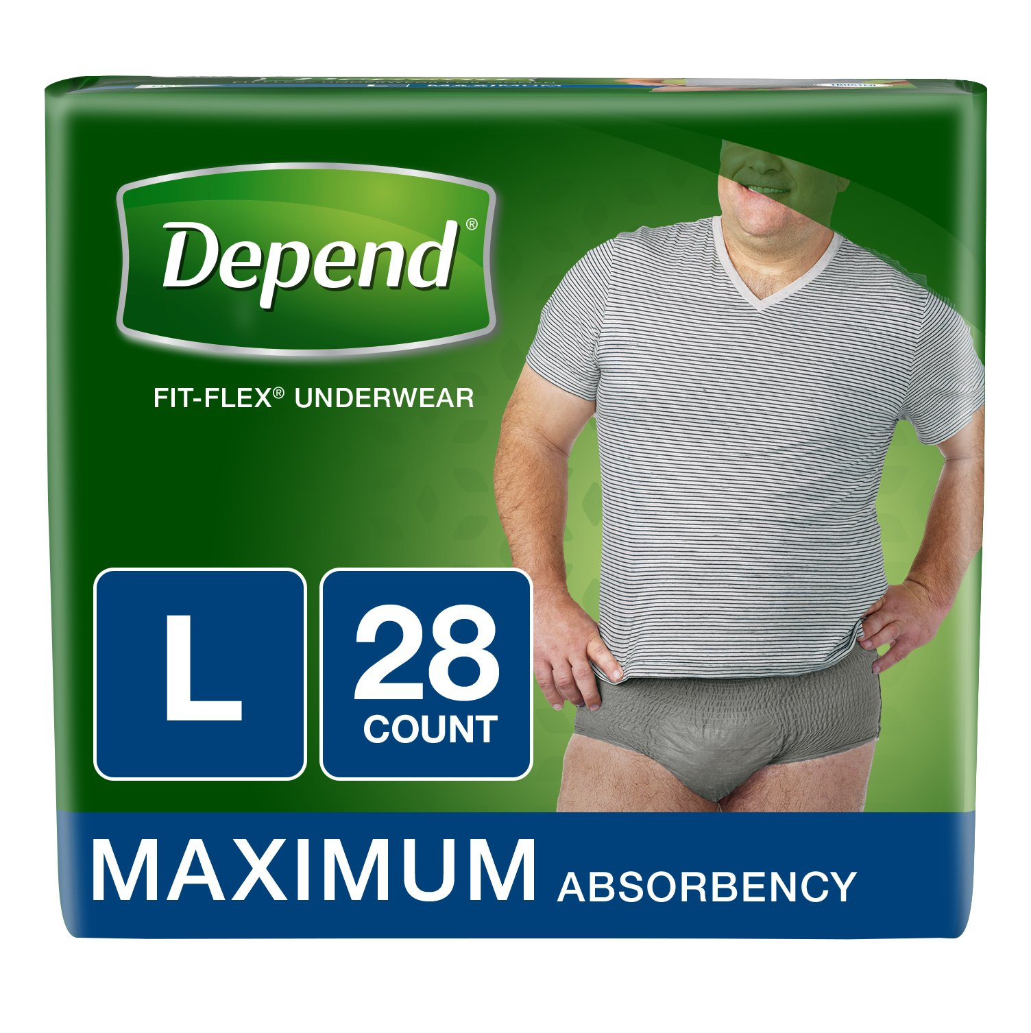 Depend FIT-FLEX Incontinence Underwear for Men, Maximum Absorbency, L, Gray,