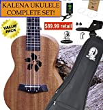 "Kalena Factory Direct Ukulele with instruction book, strap, tuner, extra strings, felt picks, complete set for all ages (24"" Concert Hibiscus, Sanded Mahogany)"