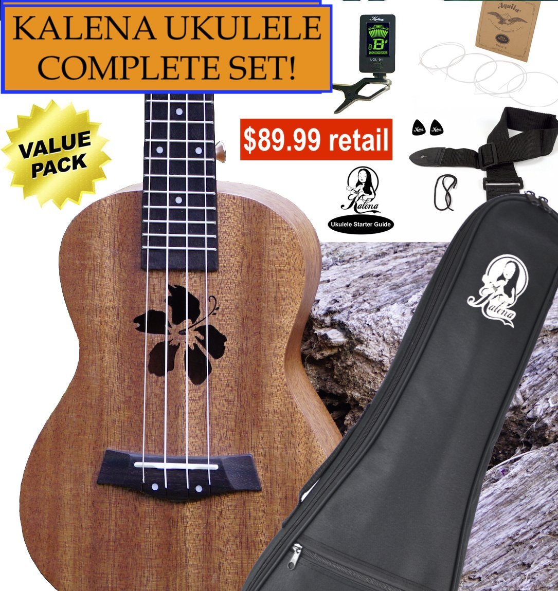 Kalena Factory Direct Ukulele with instruction book, strap, tuner, extra strings, felt picks, complete set for all ages (24'' Concert Hibiscus, Sanded Mahogany)
