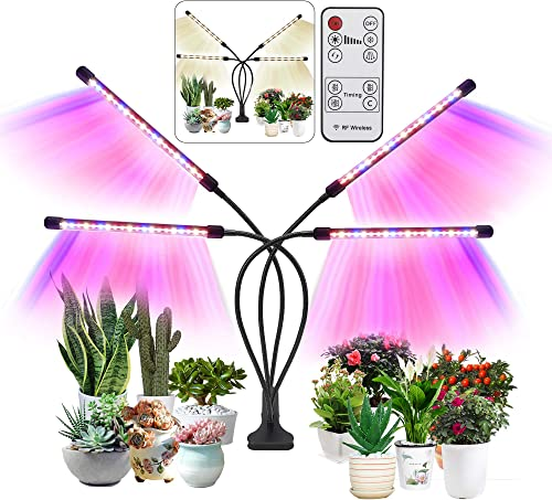 Syellowafter Grow Light, Plant Grow Lights for Indoor Plants with Red Blue Spectrum, 80W 4 Modulator Tubes 80 LED Beads,2 8 12H Timer,3 Switch Modes, USB or AC Powered