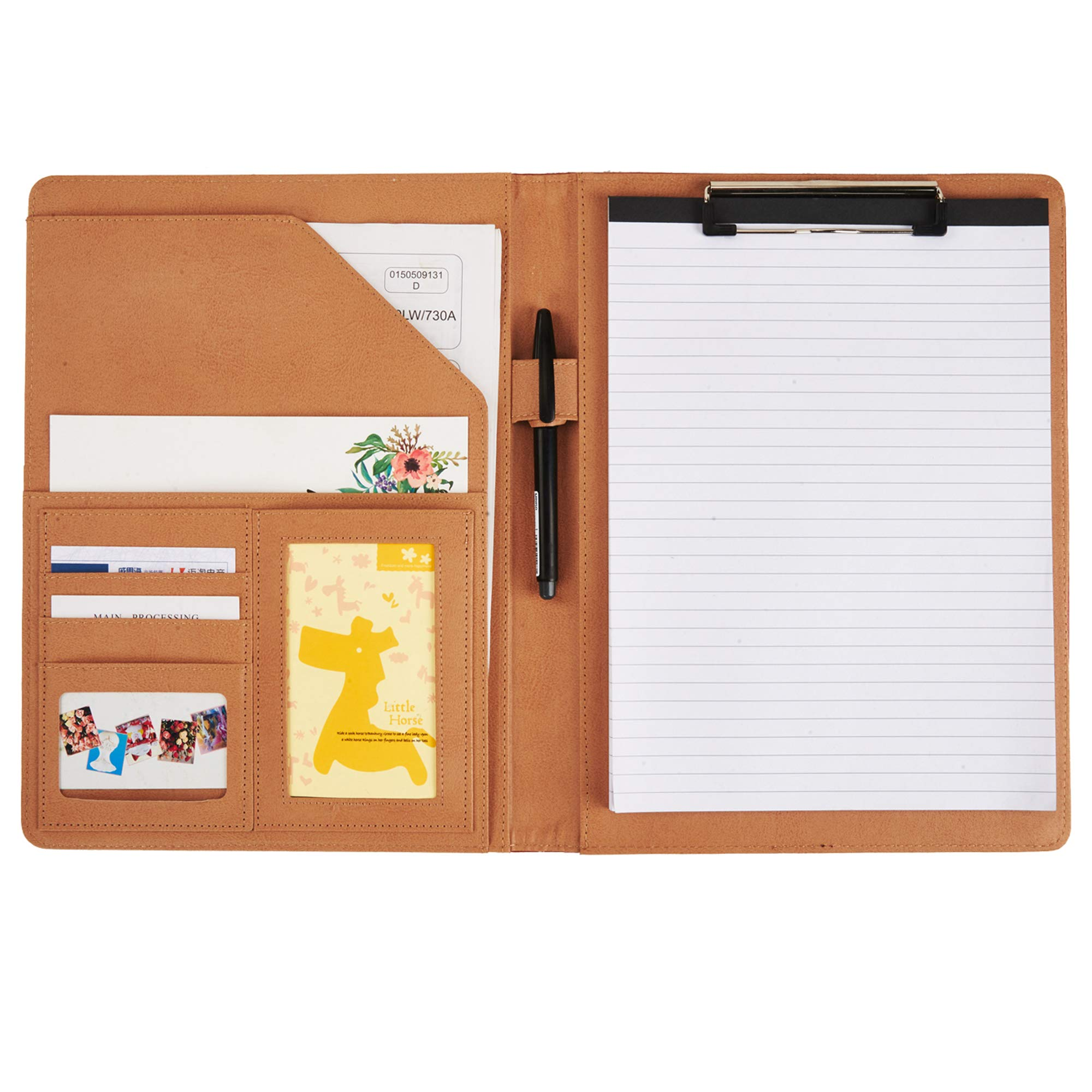 Document Organizer Padfolio Resume Portfolio Folder Clipboard Pad Holder Letter Size A4 with Writing Notepad Business Card Holder for School Office Interview (Black)