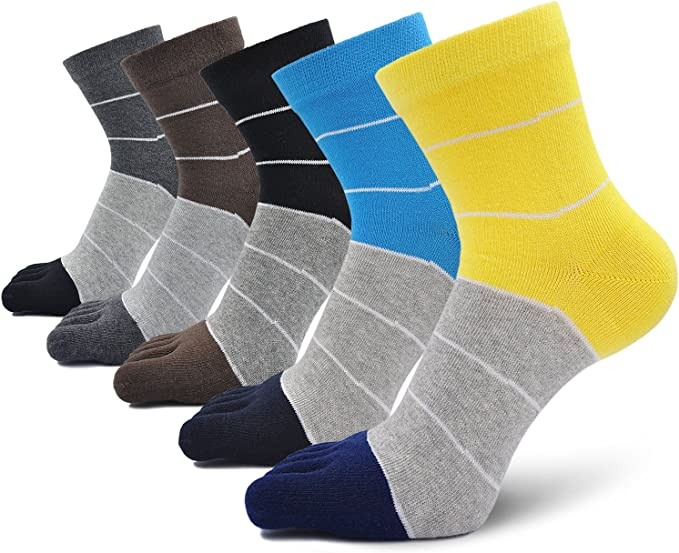 Mens Cotton Toe Five Finger Sports Socks Solid Ankle Breathable Low Cut