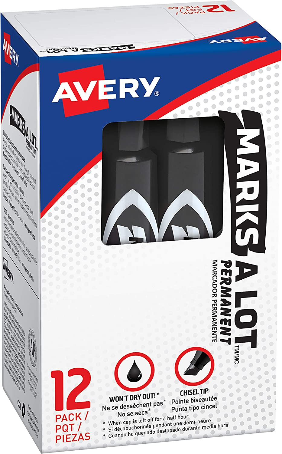 Avery Marks-A-Lot Regular Desk-Style Size Chisel Tip, 12 Black Permanent Markers are perfect for signs and posters (07888)