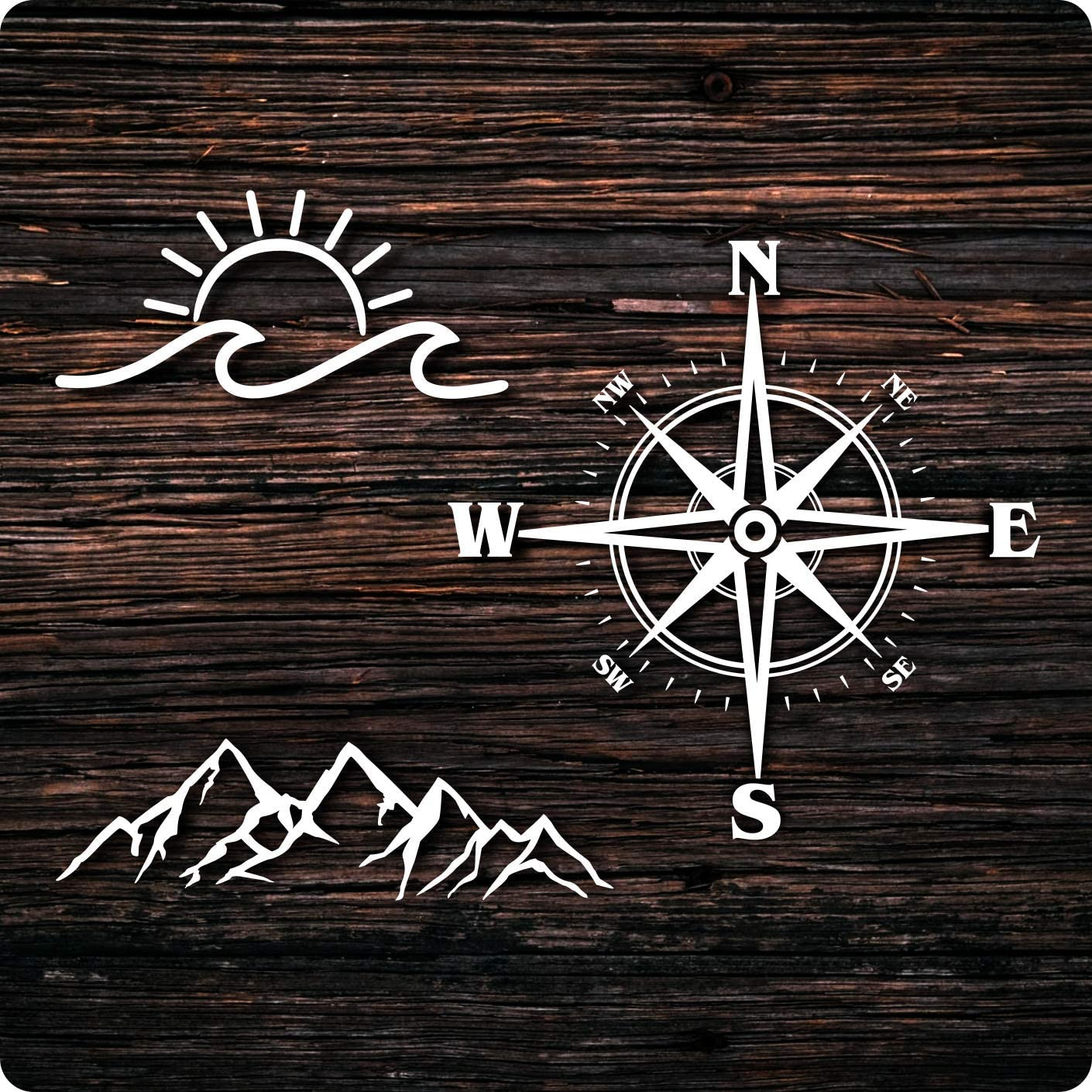 PNW Nature Decals, Mountain Ocean Compass Vinyl Graphic Sticker 3 Pack