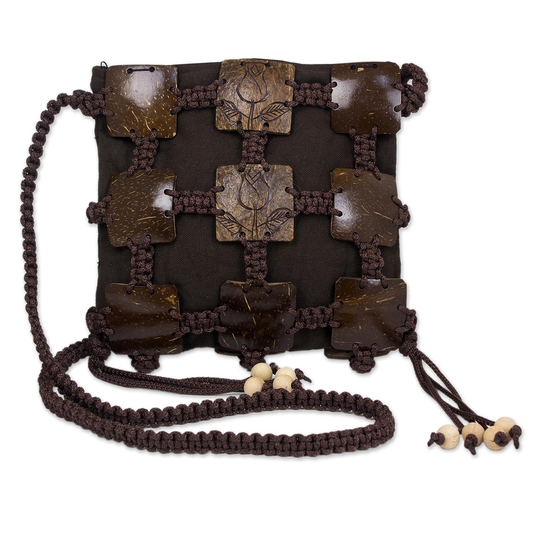 NOVICA Brown Coconut Shell Shoulder Bag, 'Earth Roses'