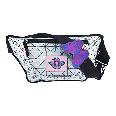 DAN-PAK HOLOGRAPHIC FLASK FANNY PACK BY HYDRATION WAIST PACK SILVER AND BLACK