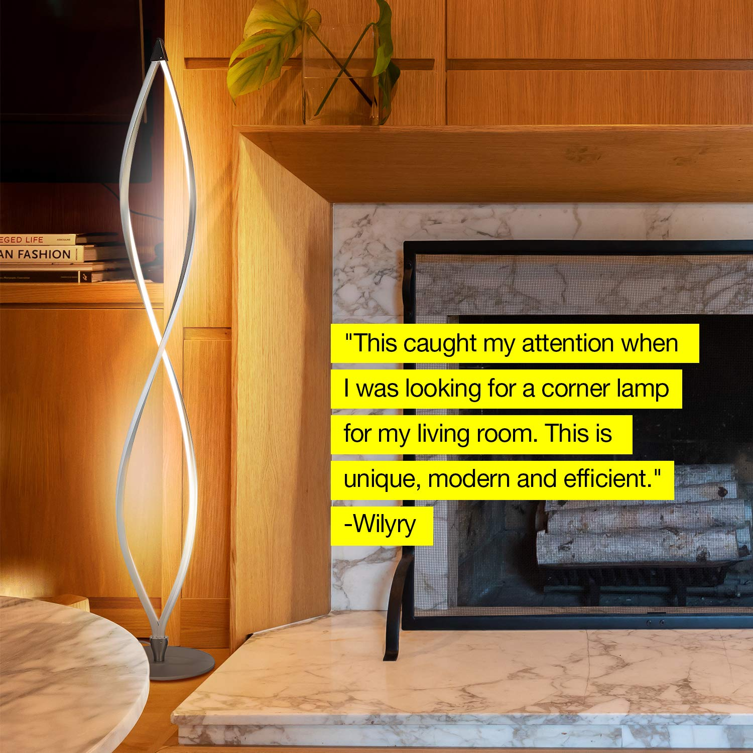 Brightech Twist - Modern LED Living Room Floor Lamp - Bright Contemporary Standing Light - Built in Dimmer Switch with 3 Brightness Settings - Cool, Futuristic Lighting - Silver by Brightech (Image #9)