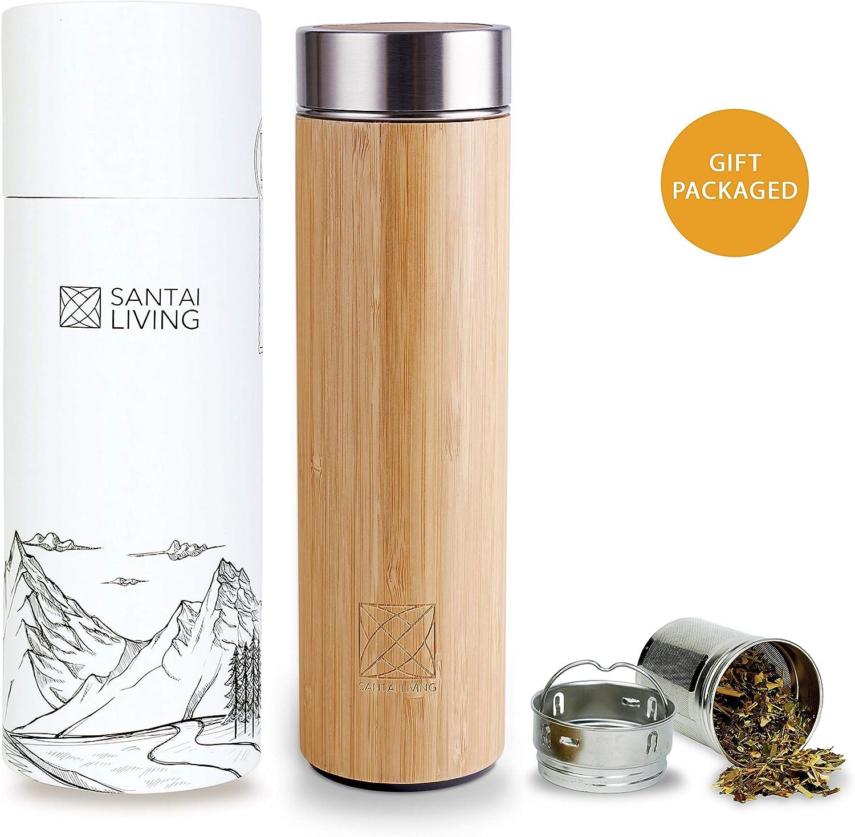 Santai Living Termo de Bambú Hermético (500 ml) Botella Isotermo con Doble Cámara Aislante con Infusor para Té, Café o Fruta | Vaso Térmico de Viaje Libre de BPA