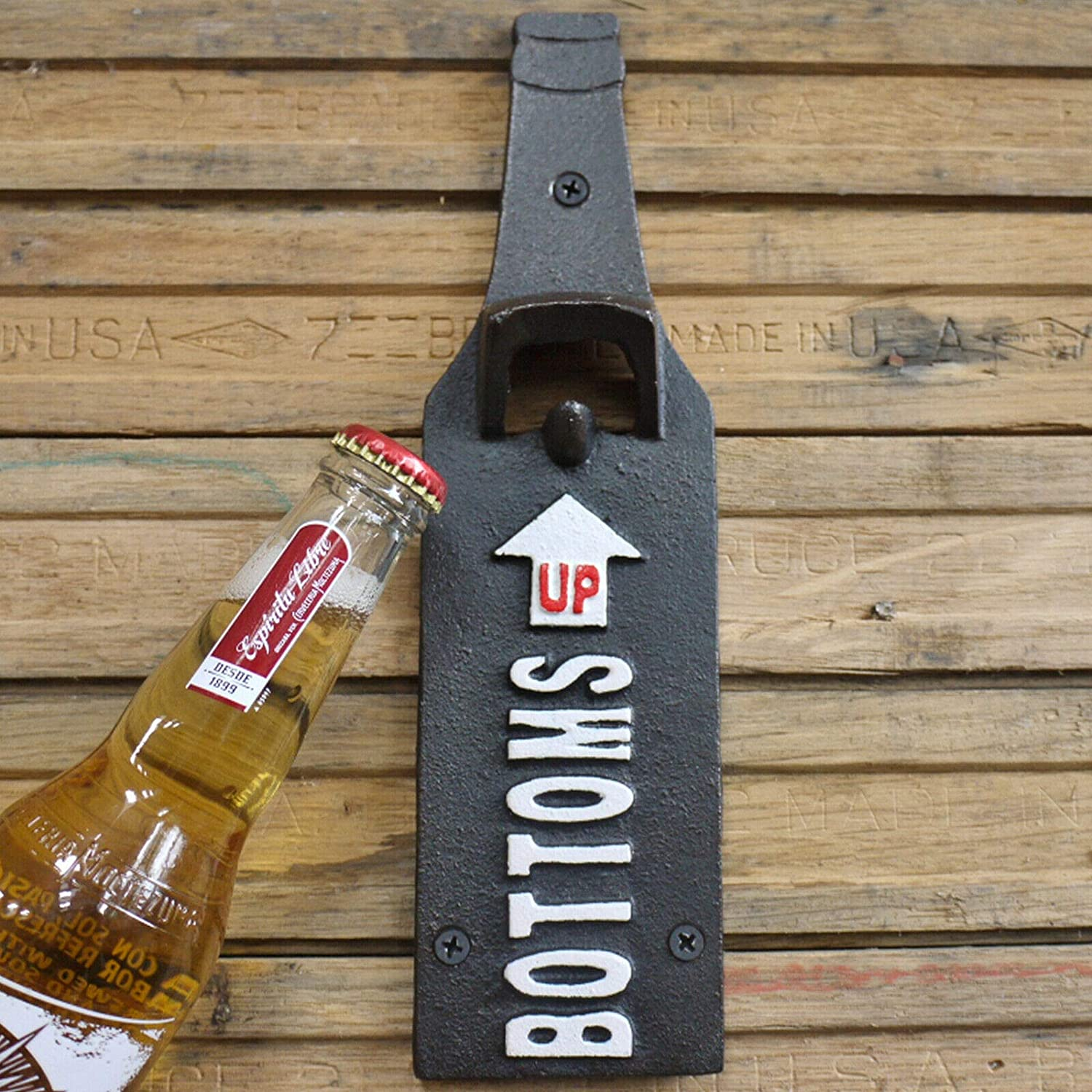 Bottle Opener With Sign Cast Iron Black Wall Mount Bar Pub Beer Wine Drinks