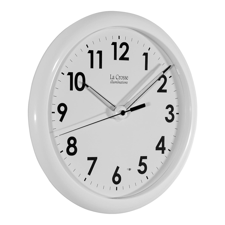 Amazon.com: La Crosse Illuminated 403-310 10 Inch White frame clock ...