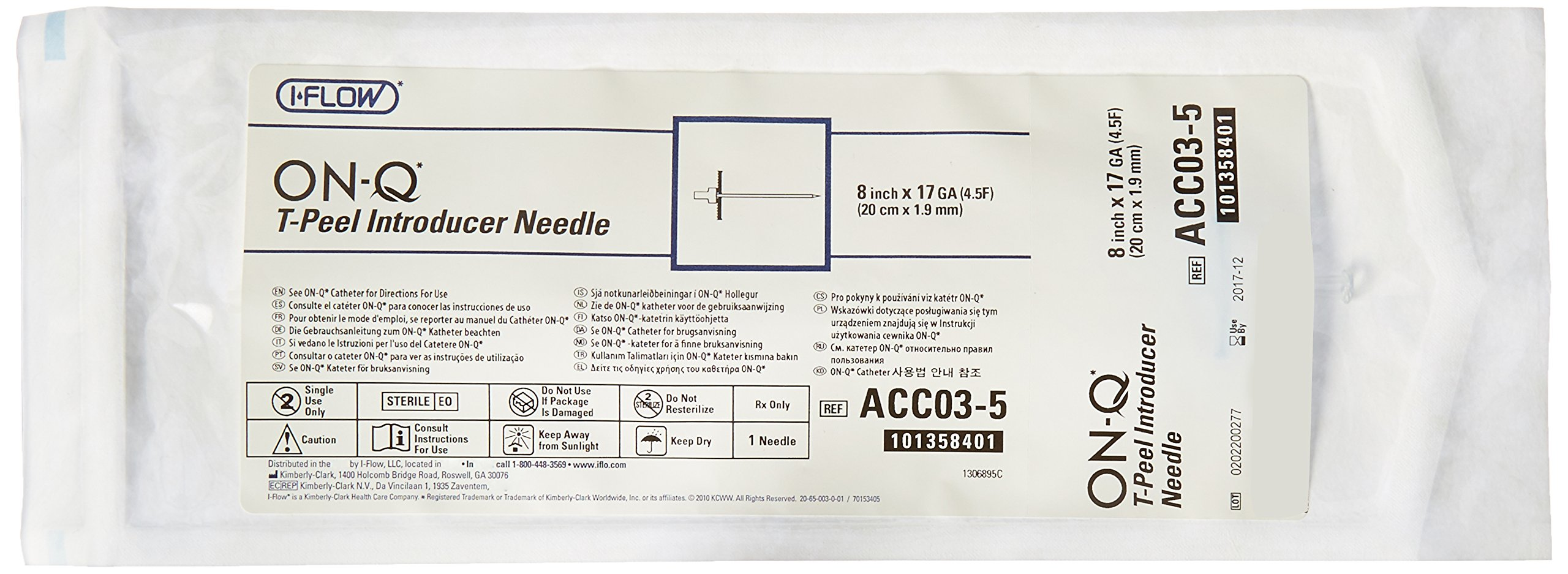 Halyard Health ACC03-5 ON-Q Introducer Needles, 8'' Length (Pack of 5)