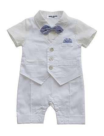 72a5a68c80a2cc HeMa Island HMD Baby Boy Gentleman White Shirt Waistcoat Bowtie Tuxedo  Onesie Jumpsuit Overall Romper