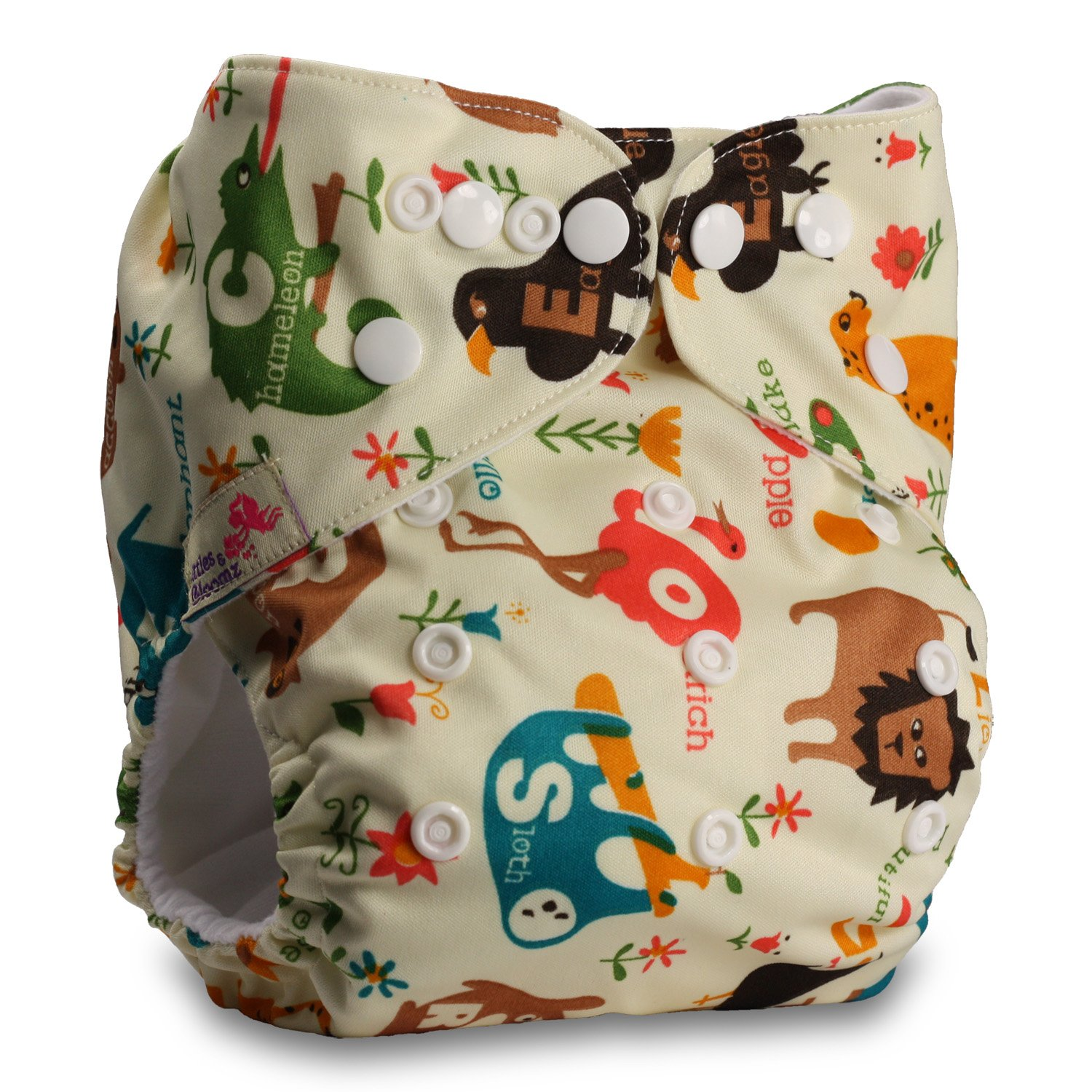 Littles & Bloomz, Reusable Pocket Cloth Nappy, Fastener: Popper, Set of 1, Pattern 34, With 1 Bamboo Insert