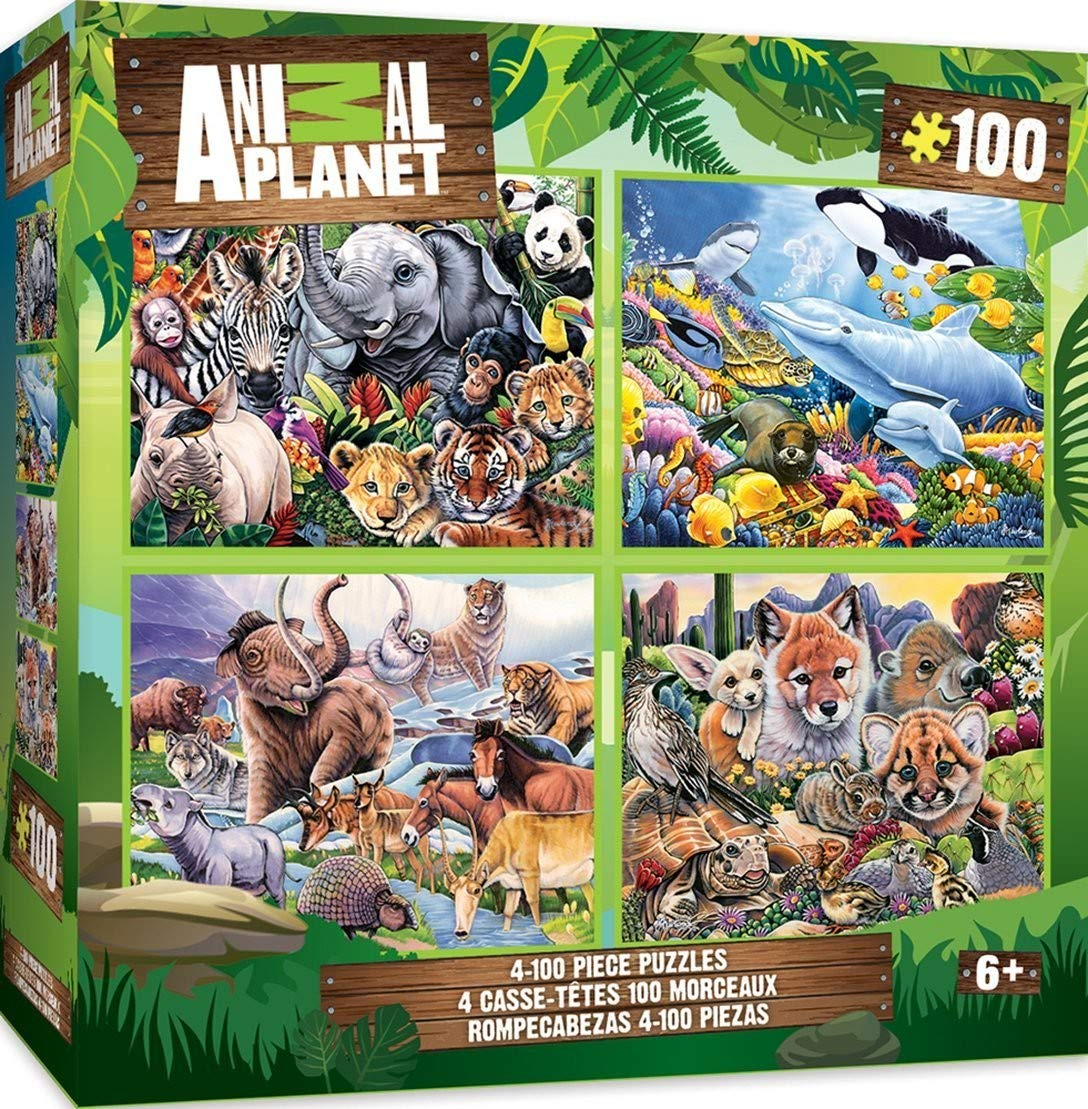 MasterPieces Animal Planet 4-pack Multipack 100 Piece Puzzles by MasterPieces