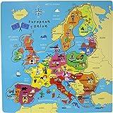 Idena 4100686 - Puzzle dell'Europa, in legno, ca. 30 x 30 cm