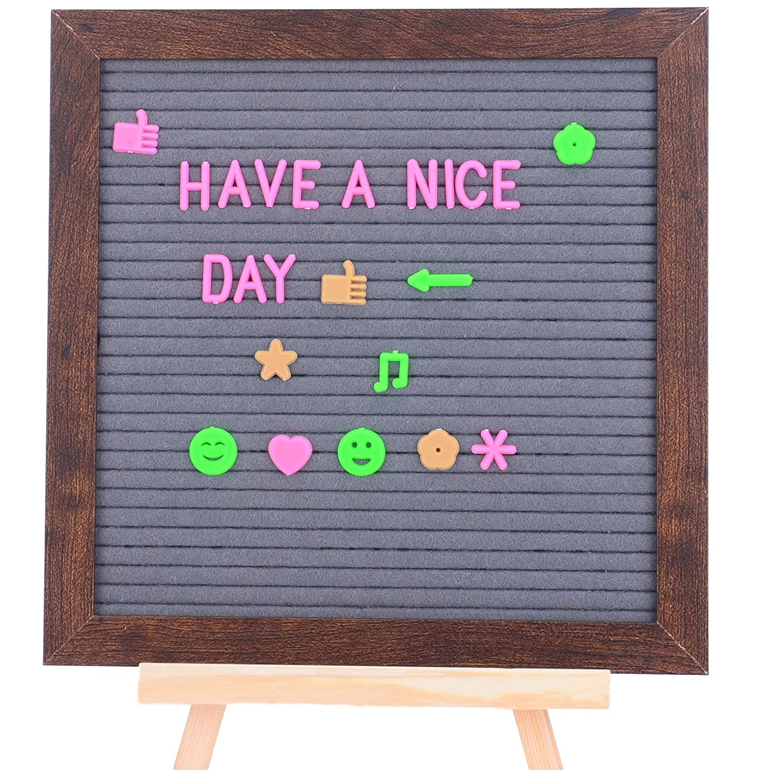 Felt Letter Board 10x10 Double Sided Letter Board Gray /& Black Changeable Message Board with 680 Clean Cut Letters Messages Wood Frame Word Board for Quotes 2 Colors Displays Words /& More