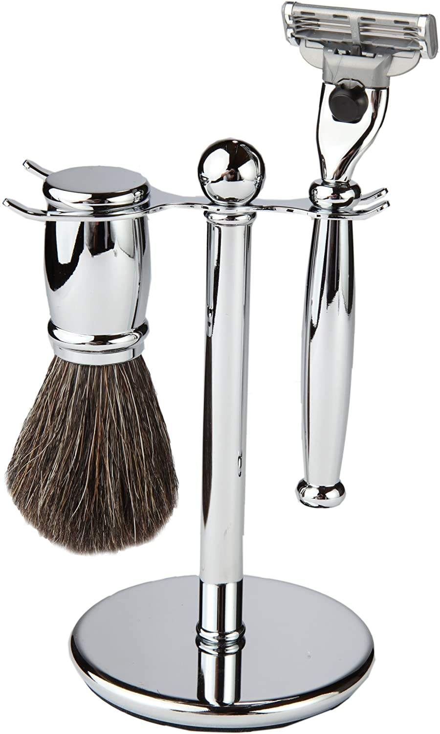 3 Piece Shaving Set With Mach 3 Heavyweight Handle, 100% Heavyweight Badger Brush, With All metal Chrome Classy Stand (Matching Chrome) Boss Razors