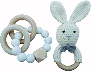 Mali Wear Natural Wooden Baby Teething Relief Toys- 2 pk Cotton Crochet Bunny and Teething Bracelet, Unisex (White Bunny Silicone Bracelet)