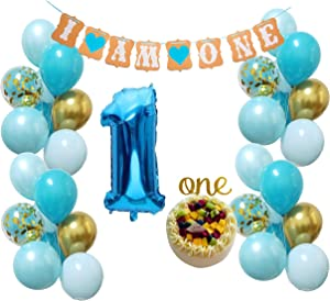 Baby 1st Birthday Decorations –Blue gold Balloons Kit for First Bday Party Supplies Decor for Boys Girls (blue + Gold)