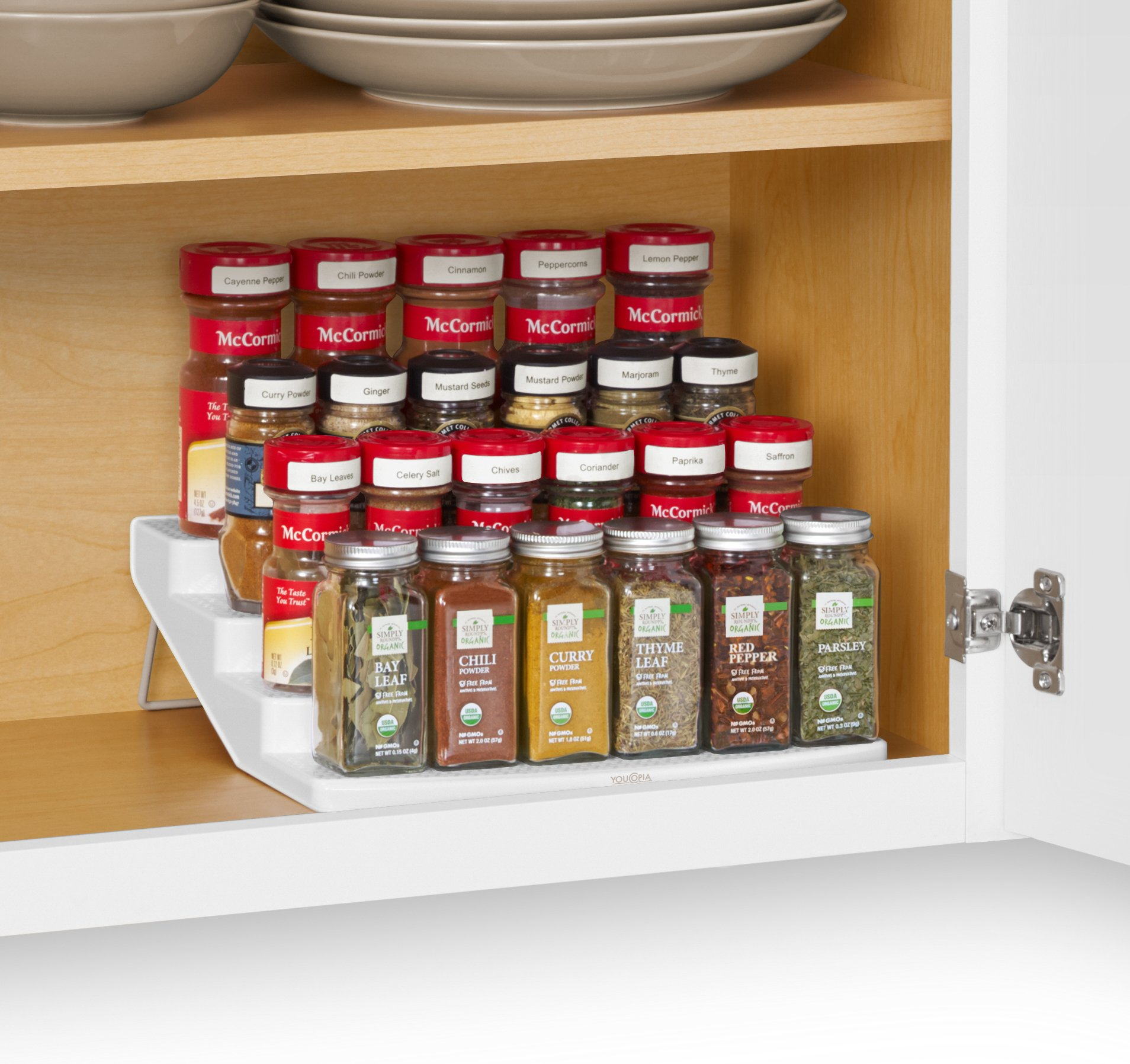 kitchen spice racks for cabinets youcopia spicesteps 4 tier cabinet spice rack organizer 22037