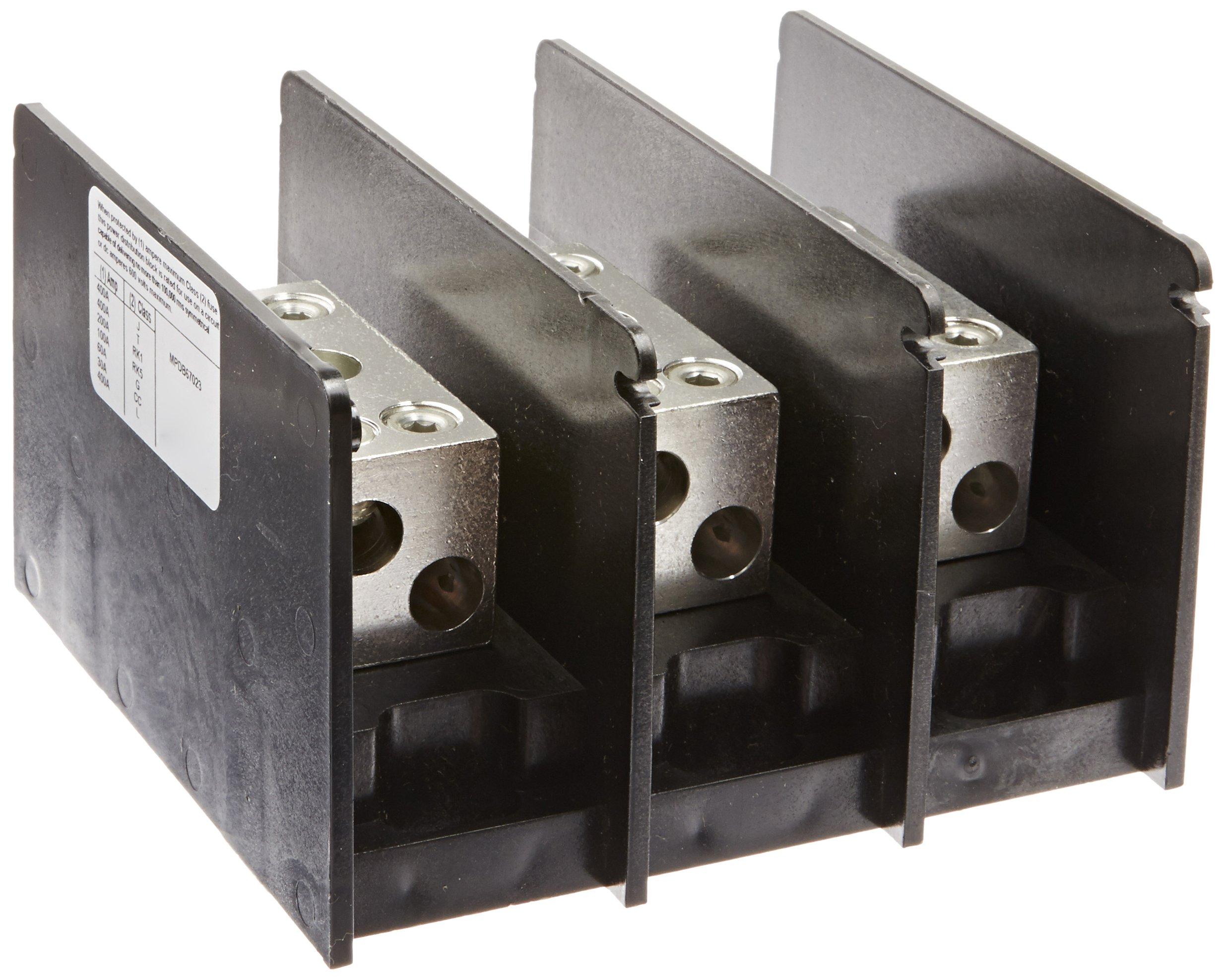 Mersen MPDB67023 Aluminum Intermediate Open Style PDBs, 3-Pole and 2 Stud, 2/0 - 14 Wire Range, 350 Ampere