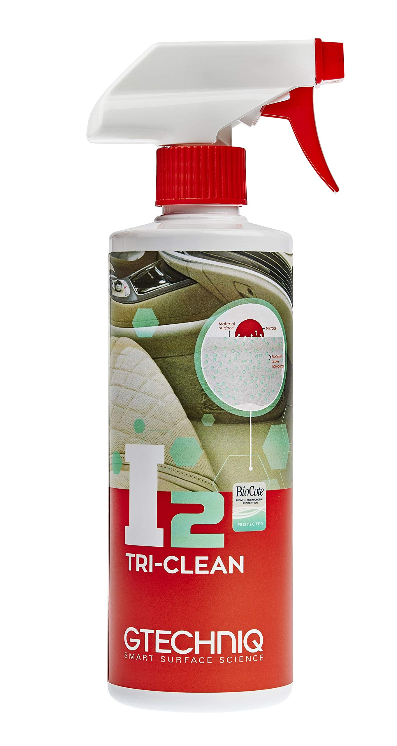 Gtechniq I2 Tri-Clean 500ml - Cleans and Protects Vehicle Upholstery from Spills, Dirt, Mess - Absorbs Odour, Kills 99.9% Bacteria, pH Neutral Cleaner - Lab Tested, Added Anti Microbial Technology