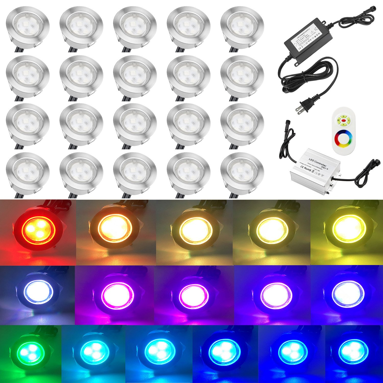 QACA 20pcs Low Voltage LED Deck Lights Kits Multi-color RGB Stainless Steel Waterproof Outdoor Yard Garden Recessed Wood Decoration Lamps Landscape Pathway Patio Step Stairs LED In-ground Lighting by QACA