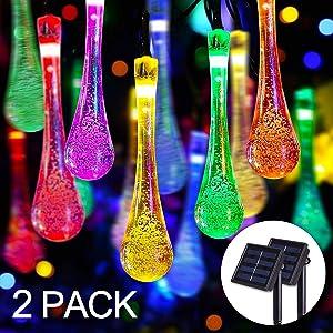 JMEXSUSS 2 Pack Solar String Lights Outdoor, 21.3 ft 30 LED Water Drop Solar Powered String Lights with 8 Modes Solar Raindrop String Lights Multicolor Solar Teardrop String Lights