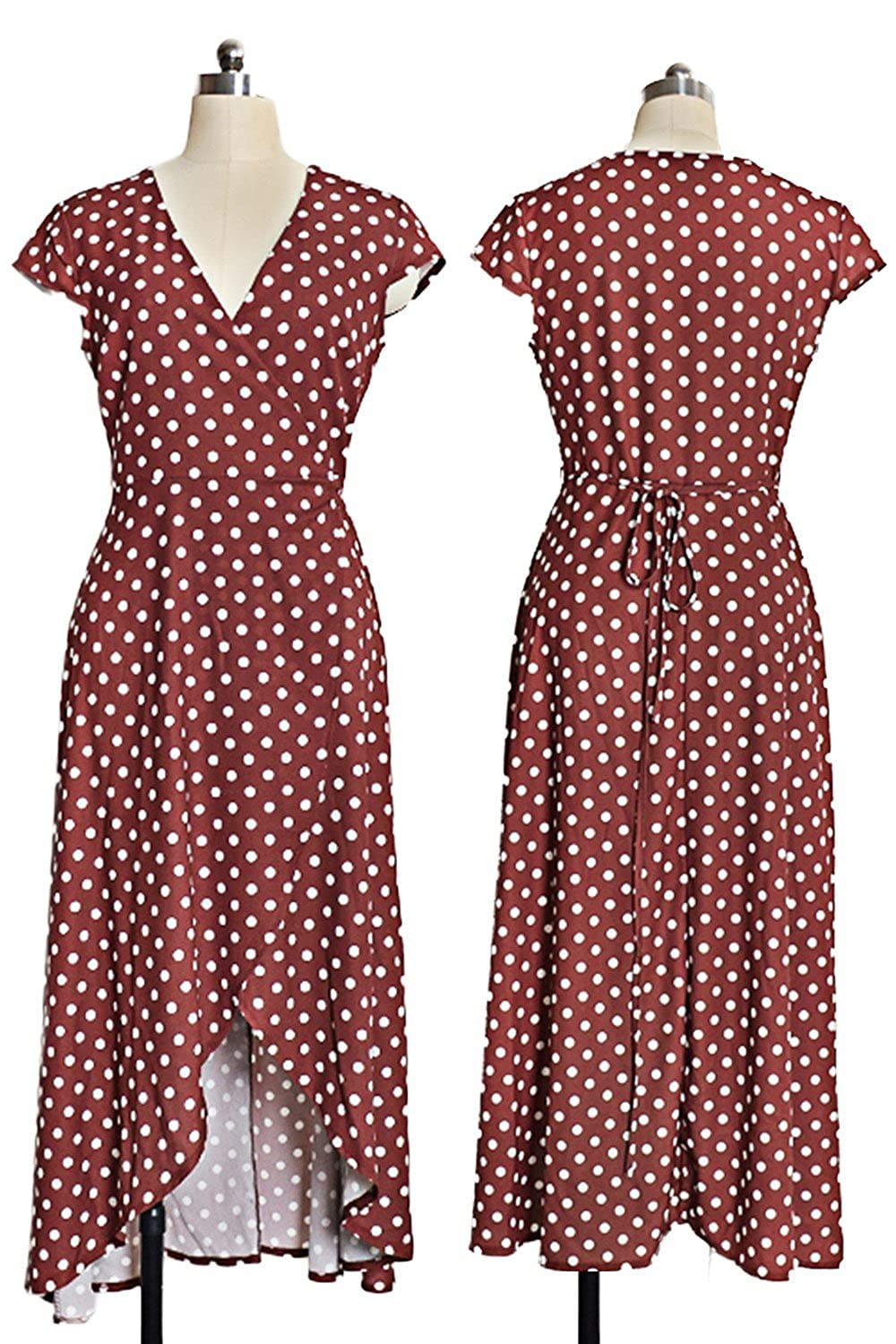 W-GRACE Women Summer Boho Polka Dots Deep V Neck Wrap Dress Cap Sleeve Chiffon Vintage Retro Holiday Beach Maxi Dress at Amazon Womens Clothing store: