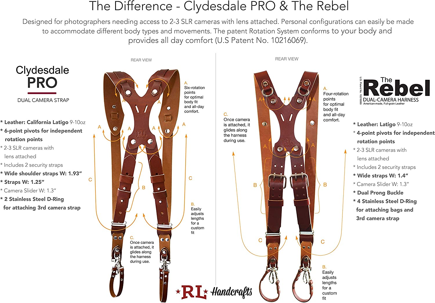 Mirrorless Rebel Dual Handmade Leather Camera Harness DLSR Sling /& Strap RL Handcrafts Point /& Shoot Made in The USA Medium, Burgundy