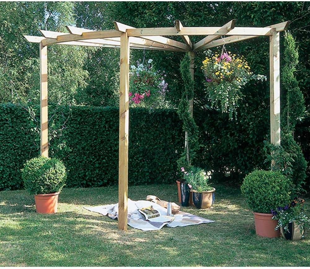 Madera Pergola Radial 90 ° estructura de jardín al aire libre función marco: Amazon.es: Jardín