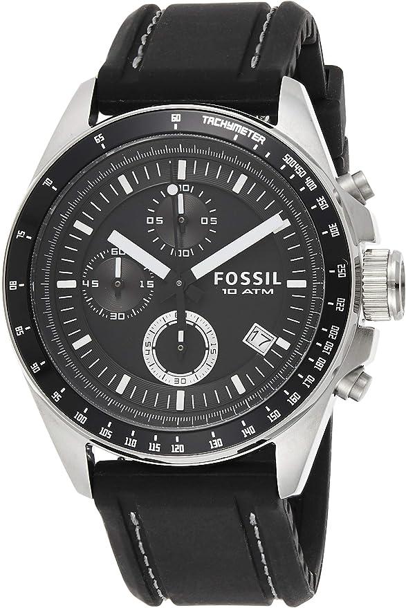 Amazon.com: Fossil Men's Decker Quartz Silicone Chronograph Watch, Color:  Silver/Black (Model: CH2573IE): Fossil: Watches
