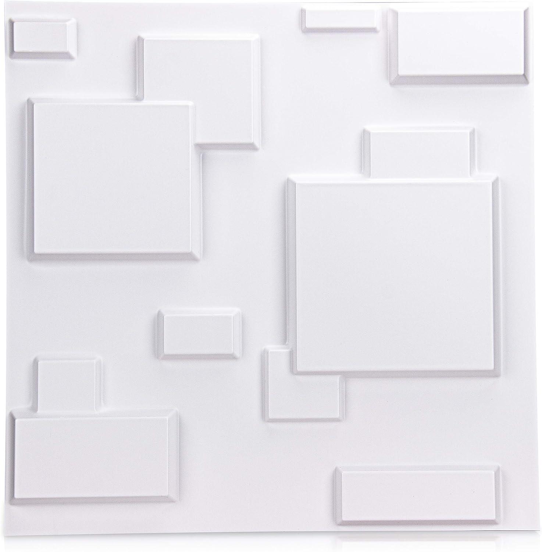 NeoHome Decorative 3D Wall Panels, PVC Acoustic Diffusion Panels, BPA-Free Square Design Wall Decor, 20x20