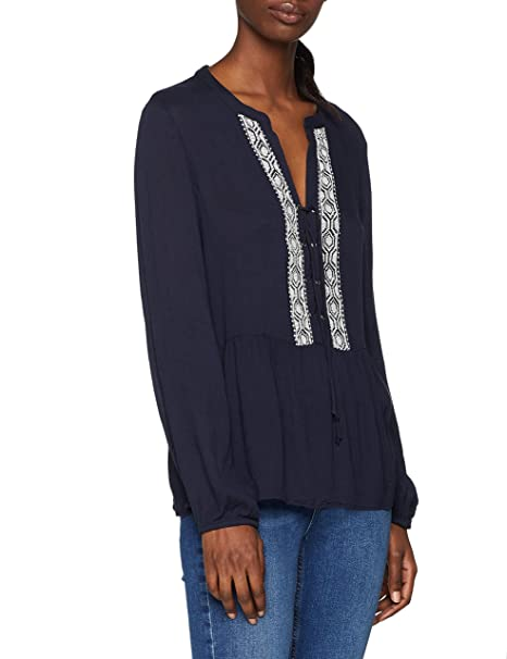 Only Onlmarika L/s Lace Up Blouse Wvn, Blusa para Mujer, Azul (Night Sky Detail: Cloud Dancer Embrodory), 42 (Talla del Fabricante: 40)