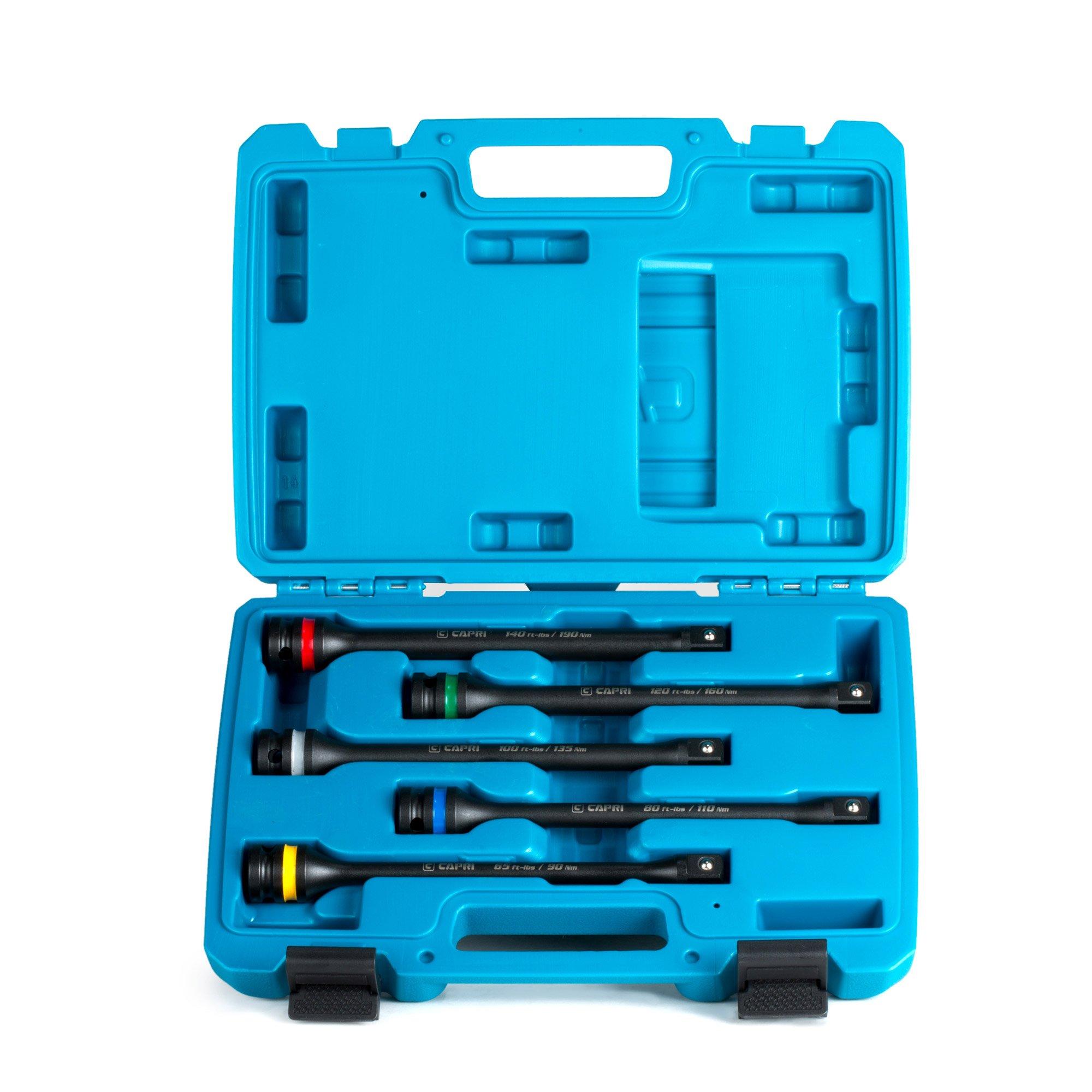 Capri Tools 30083 Torque Limiting Extension Bar Set (5 Piece), 65-140 ft. lbs, 1/2 in. Drive
