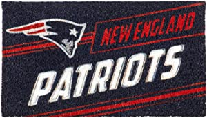 "Team Sports America NFL New England Patriots Eco-Friendly Durable Coconut Fiber Coir Punch Floor Mat - 16"" Long x 28"" Wide"