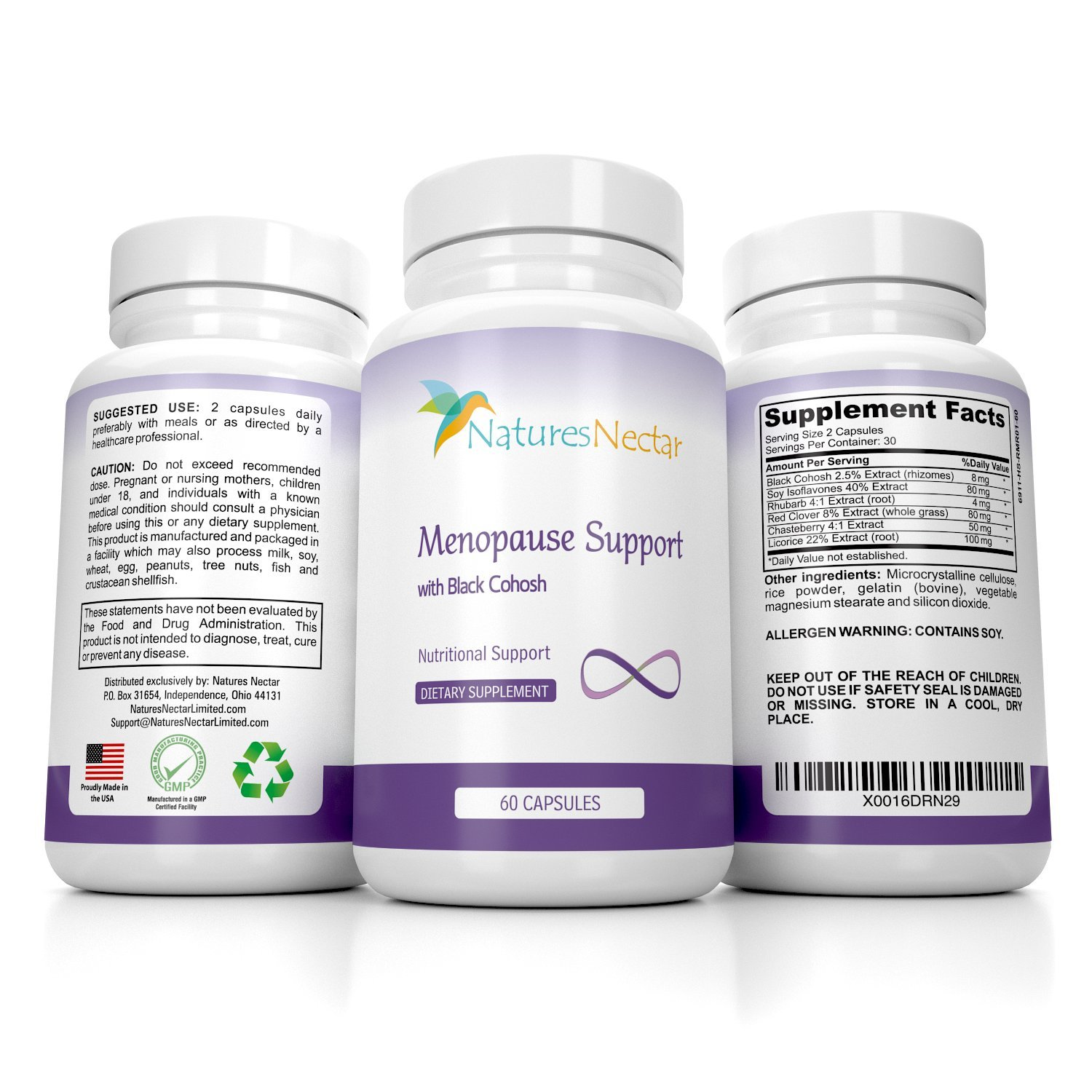 Menopause Relief Supplement With Black Cohosh - Designed For Maximum Hormone Balance Against Hot Flashes - Improves Mood + Weight Management + Night Sweats Relief - Estrogen Menapause by Nature's Nectar (Image #1)