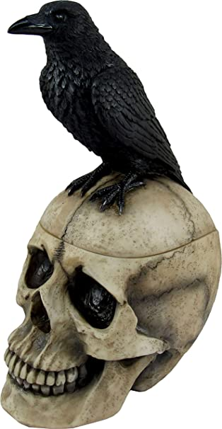 Metal Bird Skull with Carved Flourish Below Vintage Filigree Onyx-set Centerpiece Nevermore Raven Skull on Black Ribbon with Pin Backing