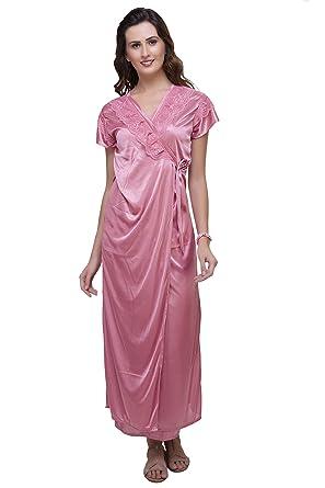 a51d1e5840 Hot 'N' Sweet Womens Satin Nightwear ,Peach ,Free Size: Amazon.in ...