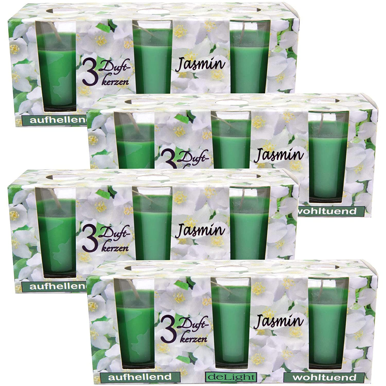 HS Candle Duftkerzen Selection 12er Pack im Glas Floral Selection lange Brenndauer und angenehmer Duft