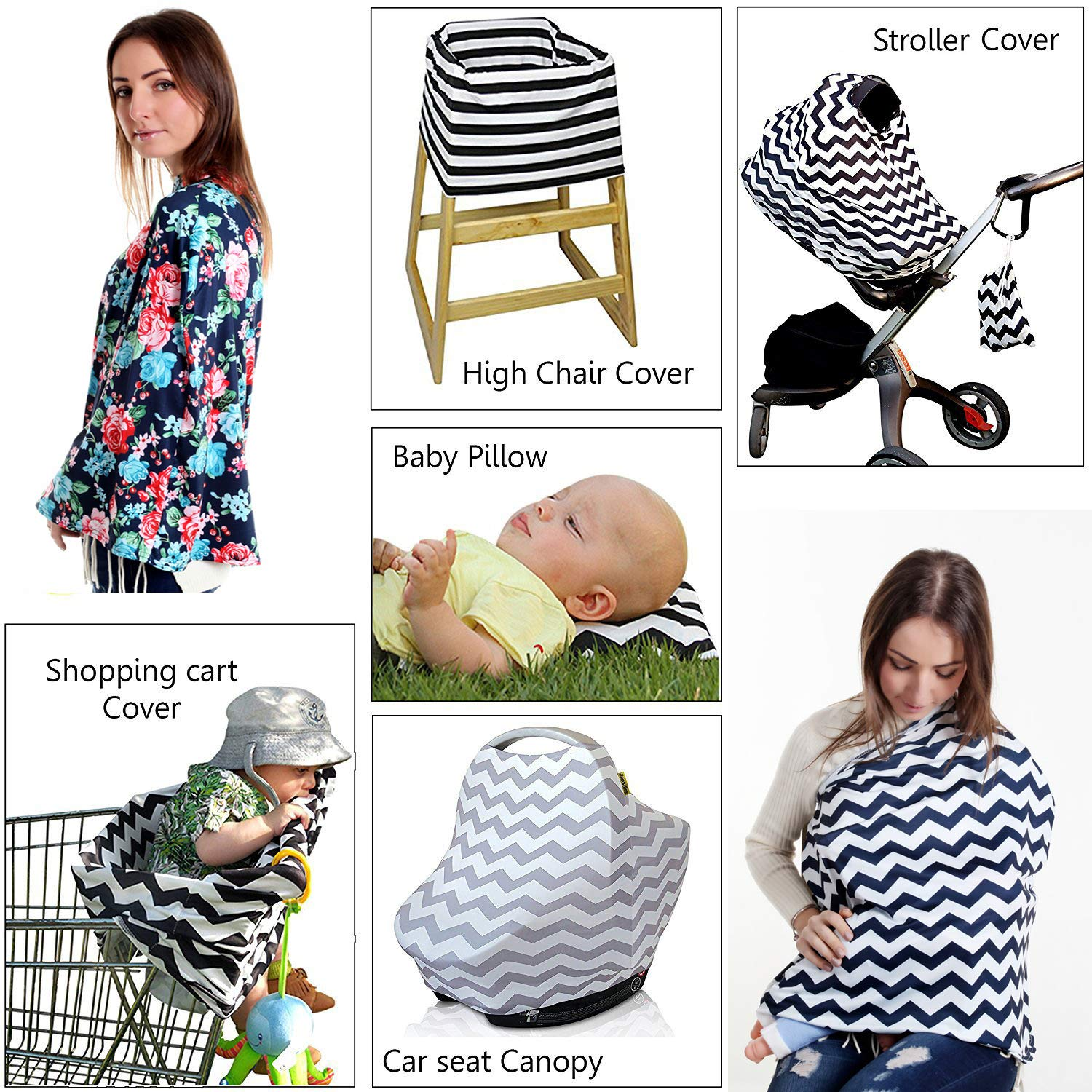 TUOKING Silky Texture Nursing Cover for Breastfeeding Cats Dream Car Seat Covers for Babies with Matching Pouch